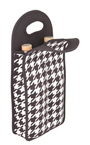 Houndstooth Gift - Zee's Creations Houndstooth 2-Bottle Neoprene Wine Tote, Multicolor