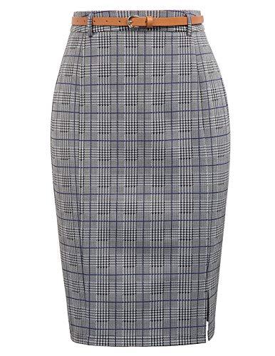 Kate Kasin Women Slim Knee Length Elastic Office Wear to Work Pencil Skirt, Blue, L