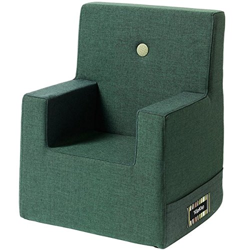 by KlipKlap Kids Chair XL - Dark Green with Light Green Button