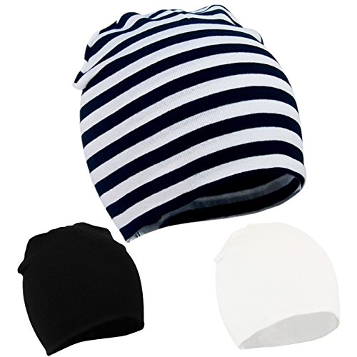 - Century Star Cute Baby Beanie Warm Knit Cotton Toddler Infant Beanies Hat Boy Girl B 3P-Black/Stripe/White S