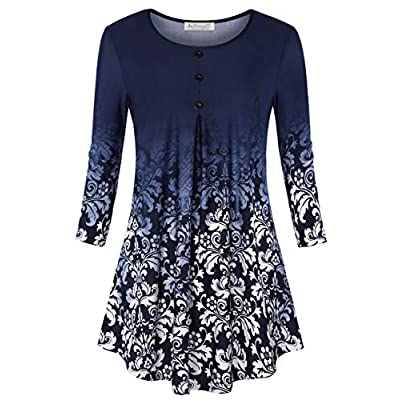 BAISHENGGT Women's 3/4 Sleeve Buttons Pleated Front Tunic Top at Women's Clothing store