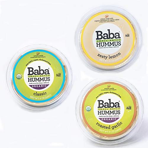 - Baba Small Batch Organic Hummus (8 oz, 3 Pack) - USDA Organic, Gluten Free, Vegan, Non-GMO, Cholesterol Free (Classic, Zesty Lemon, Garlic)