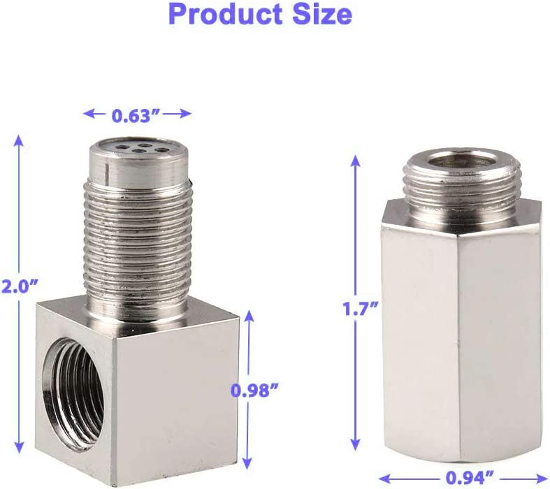 90 Degree O2 Oxygen Sensor Socket Real Mini Catalytic Converter With CEL Check Engine Light Bungs,Stainless Steel