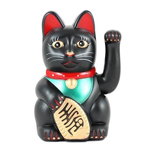 Price comparison product image MOEUP Fortune Cat Maneki Neko Waving Lucky Cat (Black)