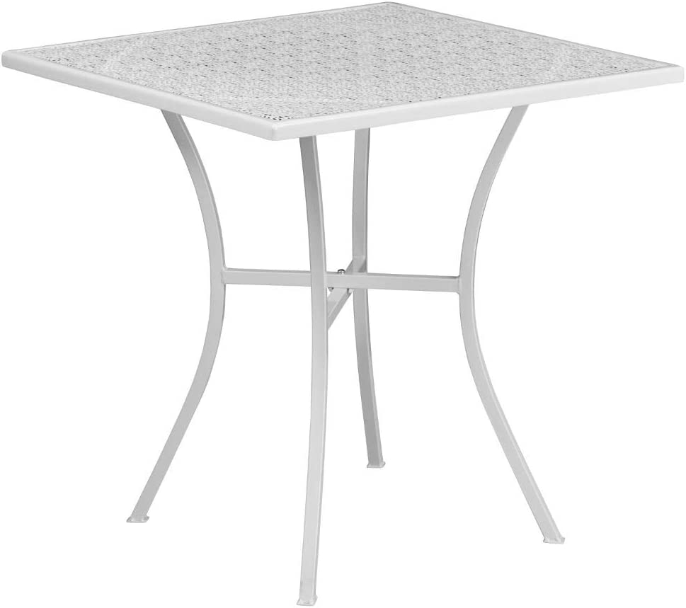 Flash Furniture Commercial Grade Square Patio Table |Outdoor Steel Square Patio Table