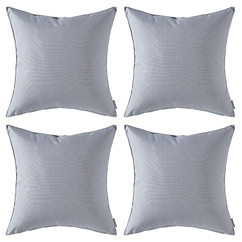 MIULEE Pack of 4 Decorative Outdoor Waterproof Pillow Cover Square Garden Cushion Case PU Coating Throw Pillow Cover Shell for Tent Park Couch 18x18 Inch Light Grey