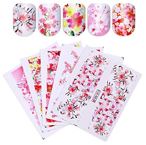 3 Sheets Sakura Japanese Cherry Blossom Plum Flower Full Page Cover Self Adhesive Nail Art Stickers Water Transfer Decals Decorations Wraps SY1598