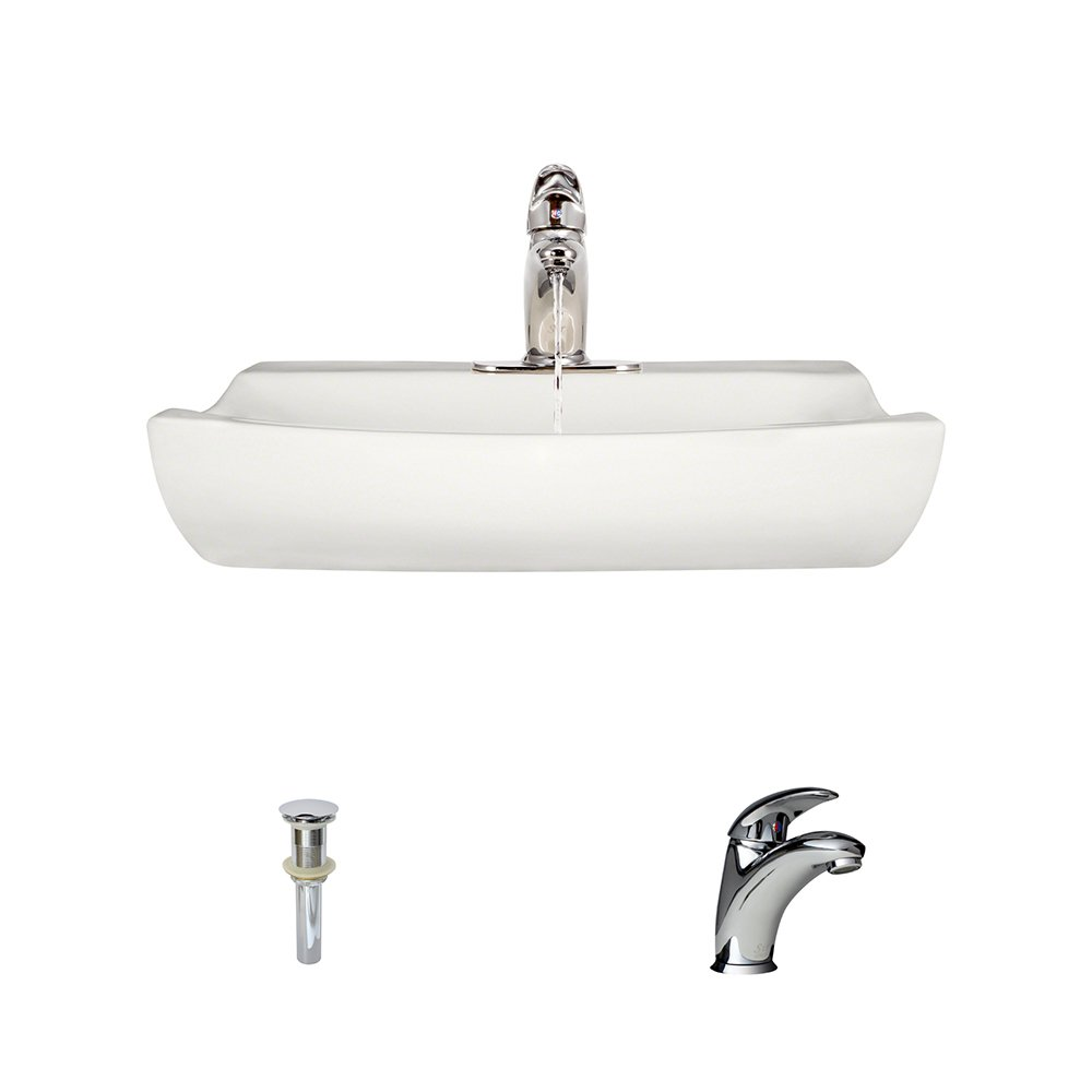 V2302-Bisque Porcelain Vessel Sink Chrome Ensemble with 722 Vessel Faucet Bundle – 3 Items Sink, Faucet, and Pop Up Drain
