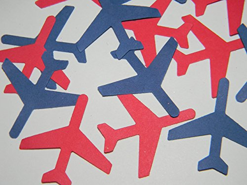 100 red and blue airplane airplanes die cuts party decor scrapbooking table confetti (Scrapbooking Confetti)