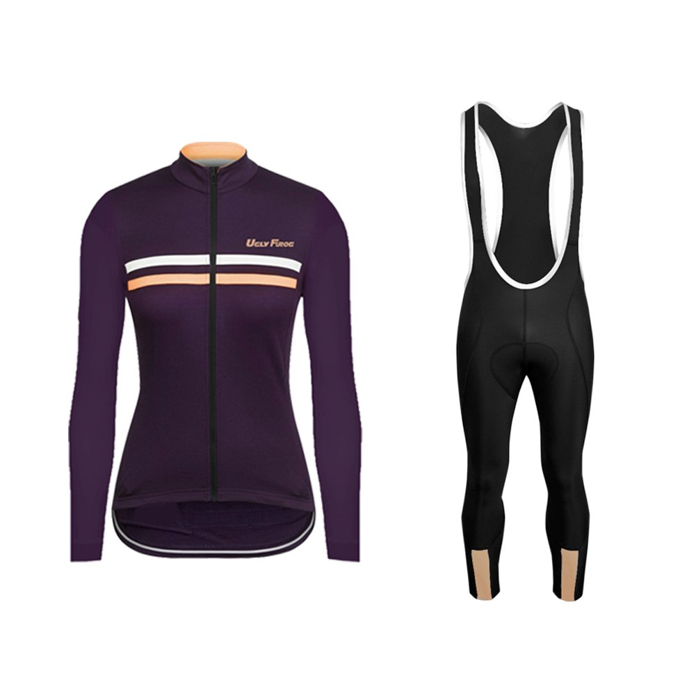 UGLYFROG Newest #02 Long Sleeve Cycling Jersey + Bib Tight Sets with Gel Pad Women Breathable Outdoor Sports Wear Spring Bicycle Triathlon Top Quick Dry