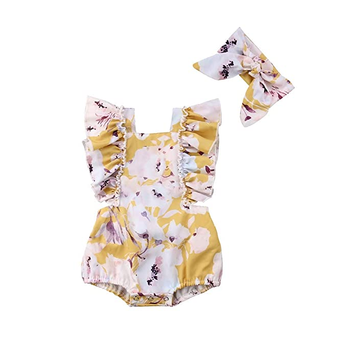 c413856e8dd 2PCS Newborn Infant Baby Girls Summer Romper Ruffled Floral Bodysuit  Overall Kids Jumpsuit Clothes Outfits Purple
