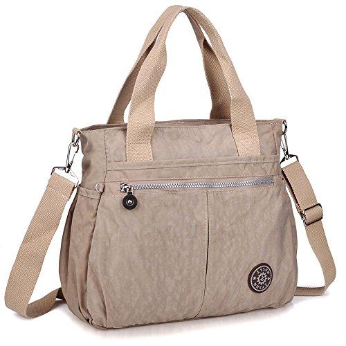 Tote Handbags,Crossbody Bags for Women,ZYSUN Nylon Lightweight Satchel Shoulder Bag (A-Beige)