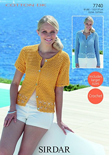 Sirdar Ladies Cardigans Cotton Crochet Pattern 60 DK Amazoncouk Unique Cotton Crochet Patterns