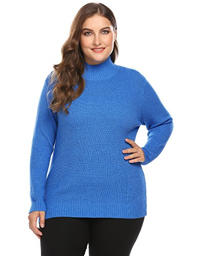 (Zeagoo Plus Size Women's Cable Knit Turtleneck Tunic Long Sleeve Sweater Pullover)