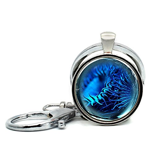 - Keychain Round Pendant Blue sea urchin Glass Cabochon Key Rings Stainless Steel Metal Handmade Charm Pendants
