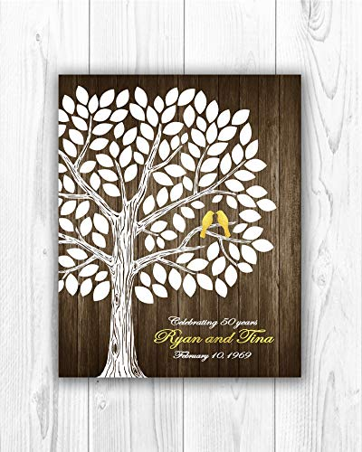 Monsety 50th, Personalized Golden Anniversary Guest Book, 50th