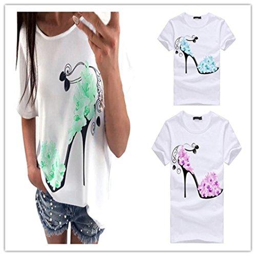 Han Shi Blouse, Women Short Sleeve High Heels Printed Tank Tops Beach Casual T Shirt