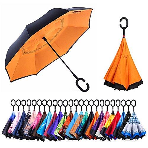 - AmaGo Windproof Inverted Umbrella - UV Protection Double Layer Reverse Folding Long Self Standing Umbrella with C-Shape Handle for Car Rain Outdoor Travel(Orange)