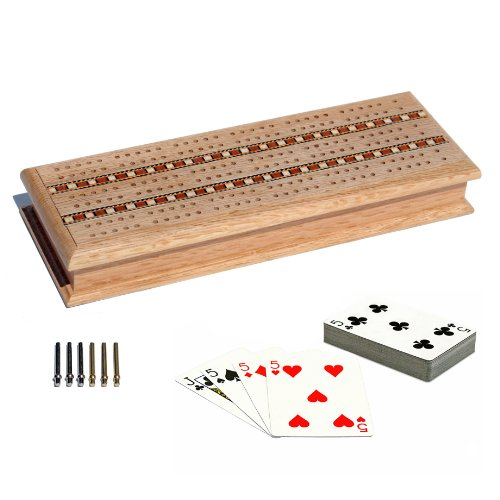 WE Games Cabinet Cribbage Set - Solid Oak Wood with Inlay Sprint 3 Track Board with Metal Pegs & 2 Decks of Cards - Expressions Cabinet