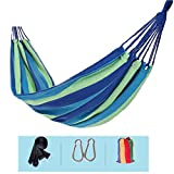 Wxl Single double hammock thick outdoor canvas indoor adult children swing dormitory home camping Thicken encryption canvas (Color : Blue)