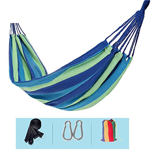 Wxl Single double hammock thick outdoor canvas indoor adult children swing dormitory home camping Thicken encryption canvas (Color : Blue) by Wxl