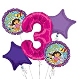 Dora the Explorer Balloon Bouquet 3rd Birthday 5 pcs - Party Supplies