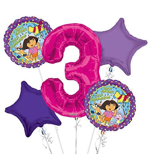 - Dora the Explorer Balloon Bouquet 3rd Birthday 5 pcs - Party Supplies