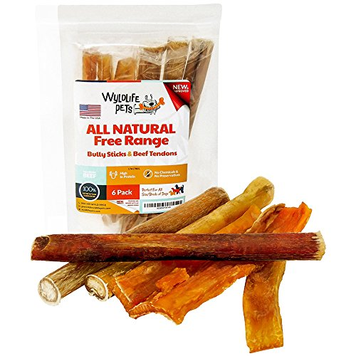 WyldLife Pets Bully Sticks and Beef Tendons – Healthy Free Range Angus Beef Dog Treats – Gourmet Pet Chews that Dogs Love - Made in the USA (6 Pack)