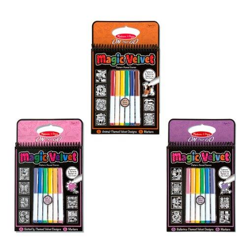 Melissa & Doug Magic Velvet Marker Coloring Books Set - Animal, Butterfly, Ballerina (Velvet Compact)