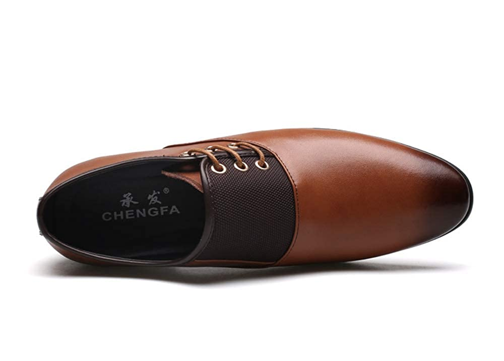 Hanglin Trade Mens Breathable Leather Shoes Pointed Toe Formal Wedding Shoes Male Flats Dress Shoes Plus Size