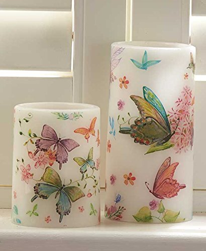 ion Set of 2 Watercolor LED Candles-Butterflies (Butterfly Candle)