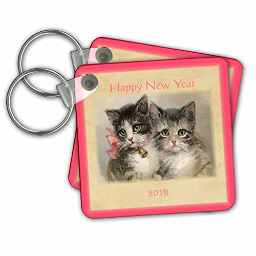 New Year Designs - Image of Vintage Style 2018 Happy New Year Kittens - Key Chains - set of 6 Key Chains - Vintage New Year Happy Images