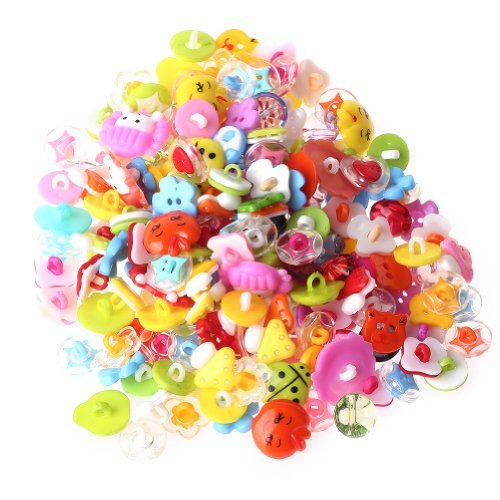 200pcs Cute Buttons Backhole Handmade Scrapbooking Sewing DIY Craft Cartoon Animal fruite