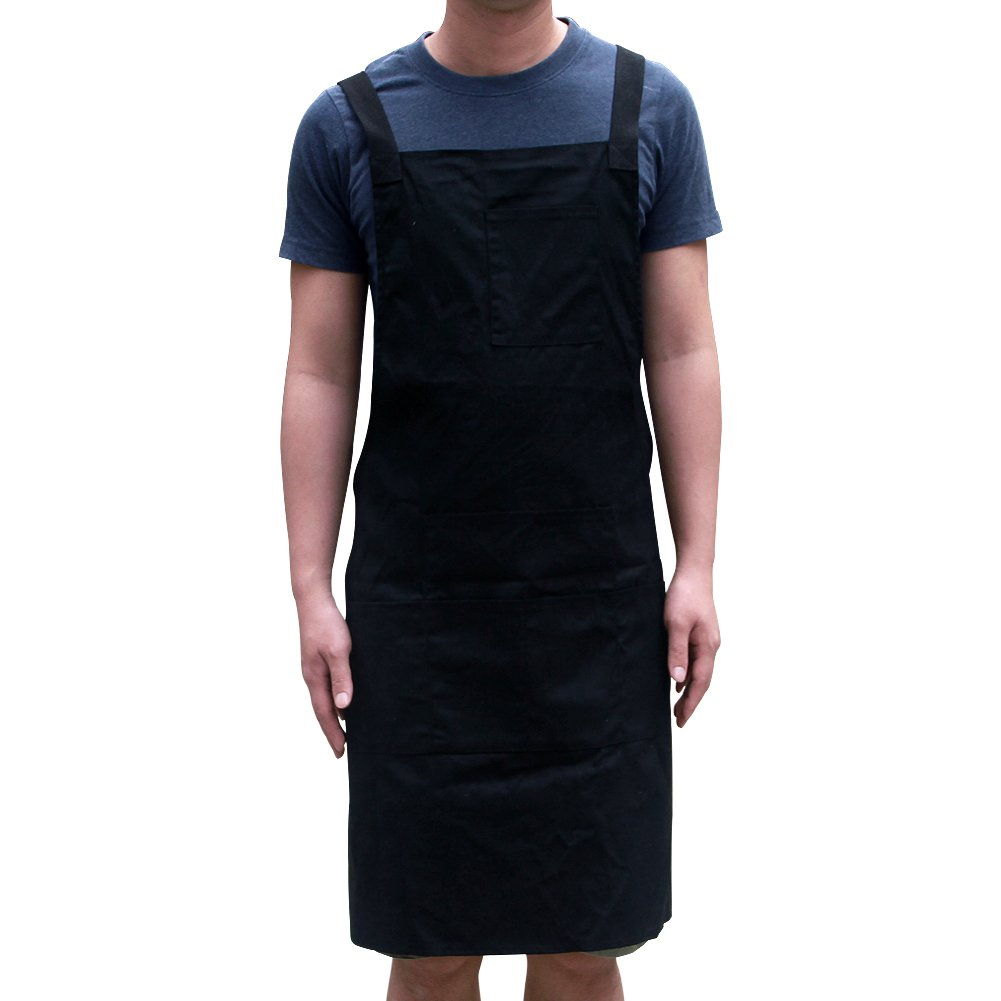 Waxed Canvas Tool Apron Utility Waterproof Heavy Duty Work Shop Aprons with Pockets One Size Fits All for Men and Women WQ08