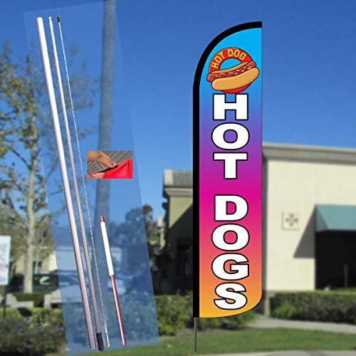 2 Swooper Flutter Feather Flags plus 2 Poles /& Ground Spikes FRESH HOT Hot Dogs Yellow Red