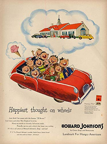 (Happiest thought on wheels Howard Johnson Ice Cream Shop & Restaurant ad 1950 L)