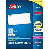 """Avery Address Labels with Sure Feed for Laser Printers 0.5"""" x 1.75"""", 9,200 Labels, Permanent Adhesive (5167)"""