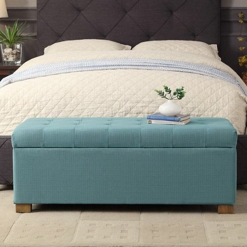 HomePop Laguna Large Tufted Storage Bench Blue by HomePop