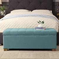 HomePop Laguna Large Tufted Storage Bench Blue