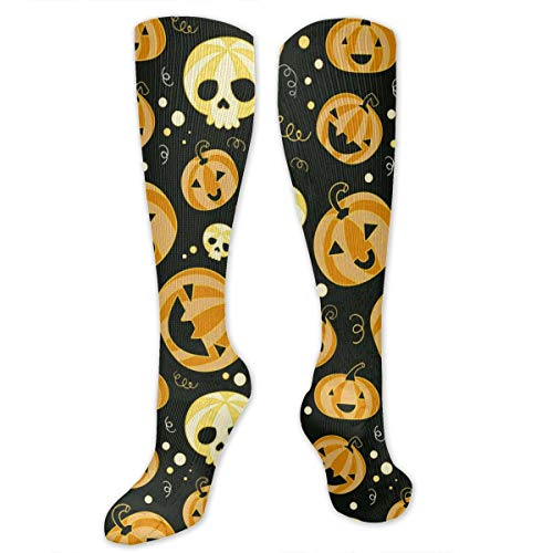 Recovery&Support Compression Socks (20-30 MmHg) For Nurses, Colorful Halloween Pumpkin Skull Galaxy Nursing Knee High Tube Socks For Flight Travel/Relieve Pain -