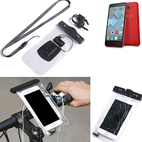 K-S-Trade for Alcatel One Touch Idol S Bicycle Bracket Mobile Phone Holder Handlebar Bike Bicycle Mount Rainproof Waterproof Connector for Headsets Motorcycle Smartphone case secure for Alcatel One -