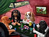 Home of Cavalier King Charles Spaniels 4 Dogs Playing Poker Art Portrait Print Woven Throw Sherpa Plush Fleece Blanket (37x57 Sherpa)