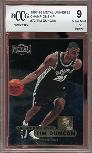 1997-98 metal universe championship #72 TIM DUNCAN spurs rookie card BGS BCCG 9 Graded Card