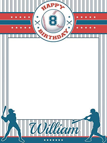 Custom Baseball Birthday Photo Booth - Size 36x24, 48x36; Personalized Baseball Cap, Happy Birthday Party Banner, Handmade Baseball Party Supply Poster Print, Baseball Birthday Party]()