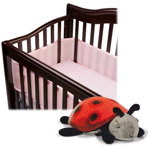 BreathableBaby Breathable Mesh Crib Liner with Cloud B Constellation Twilight Ladybug, Pink