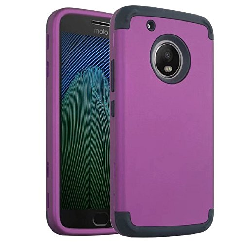Price comparison product image Moto G5 Plus Case, Ranyi [Full-body Protective Armor] [Shock Absorbing] [Hybrid 3 in 1 Design] High Impact Dual Layer Rugged Case Cover for Motorola Moto G5 Plus [5.2 Inch] (2017), purple