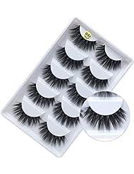 3D False Eyelashes, 3D Faux Mink Fake Eyelashes Handmade Dramatic Thick Crossed Cluster False Eyelashes Black Nature Fluffy Long Soft Reusable,Style 1 (5 Pairs)