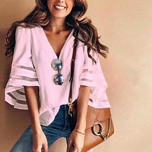 Magliette a maniche Blusa camicetta casuale Donna Rosa a Lunga Donna Manica lunghe manica lunga donne camicia della solido camicetta camicia lunghe della casual Yesmile delle Z7d7qr