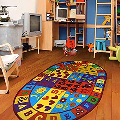 "Furnish my Place 740 Numbers 3x5 Kids ABC Educational Alphabet Letter Antiskid Oval, 3'3""x5', Multicolor: Home & Kitchen"