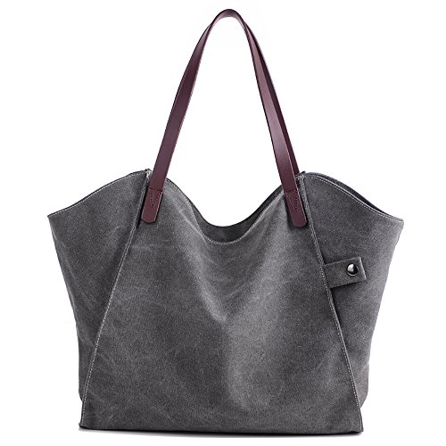 Mfeo Women Canvas Shoulder Bag Weekend Shopping Big Bag Tote Handbag Work Bag Grey)
